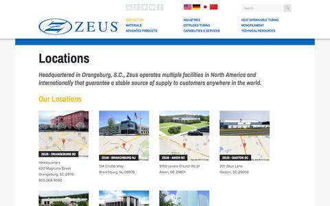 Screenshot of Locations Page zeusinc.com - Locations | Zeus - captured Sept. 22, 2014