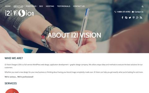 Screenshot of About Page i2ivision.com - WordPress web design & development - i2i Vision | About us - captured Oct. 13, 2018