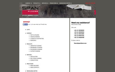 Screenshot of Site Map Page spanfloors.com - Designer Wooden Flooring by Span Floors :: Sitemap - captured Feb. 15, 2016
