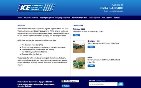 Screenshot of About Page internationalce.com - About Us - International Construction Equipment - captured Oct. 6, 2014