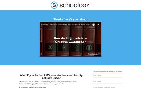 Screenshot of Landing Page schoology.com - Building Curriculum with Free Resources (The Right Way) - captured Jan. 23, 2018