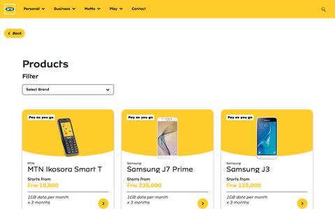 Screenshot of Products Page mtn.co.rw - Products - MTN Rwanda - captured Sept. 3, 2019