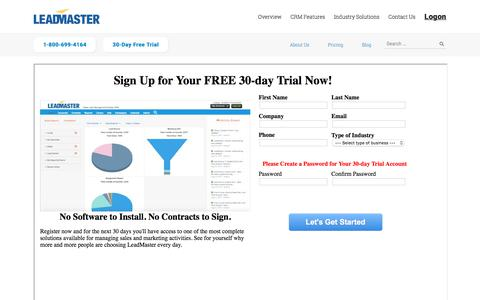 Screenshot of Trial Page leadmaster.com - CRM 30 Day Free Trial   LeadMaster - captured July 17, 2018
