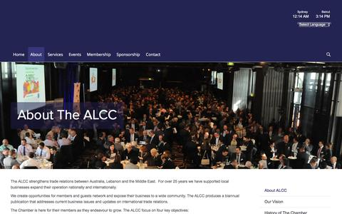 Screenshot of About Page alcc.com.au - About - The Australian Lebanese Chamber of Commerce - captured Feb. 15, 2016