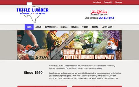 Screenshot of Home Page tuttlelumber.com - Lumber Building Supplies Hardware San Marcos Lockhart Texas Power Tool Rental Propane Gas - captured Sept. 30, 2014