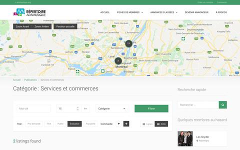 Screenshot of Services Page aramusique.org - Services et commerces | Répertoire Aramusique - captured Sept. 29, 2018