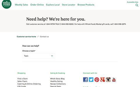 Screenshot of Contact Page wholefoodsmarket.com - Contact Us - captured Sept. 24, 2019