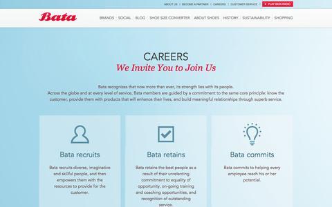 Screenshot of Jobs Page bata.com - CAREERS | Bata shoes for all - captured Sept. 19, 2014