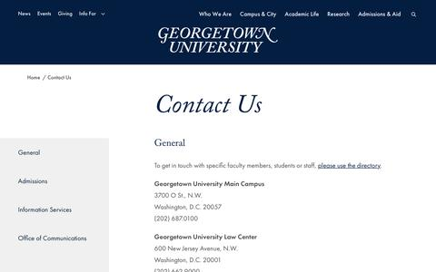 Screenshot of Contact Page georgetown.edu - Contact Us - Georgetown University - captured Oct. 9, 2019