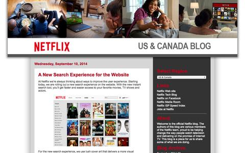 Screenshot of Blog netflix.com - Netflix US & Canada Blog - captured Sept. 16, 2014