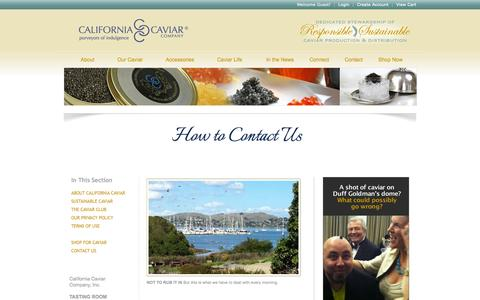 Screenshot of Contact Page Support Page californiacaviar.com - How to Contact California Caviar Company : Sausalito, California - captured Oct. 22, 2014