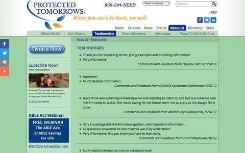 Screenshot of Testimonials Page protectedtomorrows.com - Testimonials | PROTECTED  TOMORROWS - captured July 23, 2018