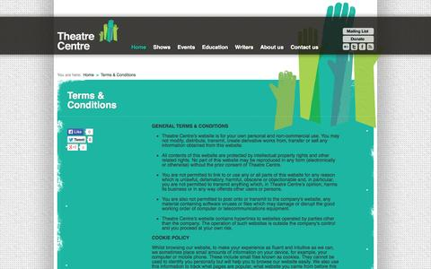 Screenshot of Terms Page theatre-centre.co.uk - Terms & Conditions   Theatre Centre - captured Sept. 30, 2014