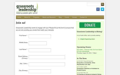 Screenshot of Signup Page grassrootsleadership.org - Join us!   Grassroots Leadership - captured July 23, 2018