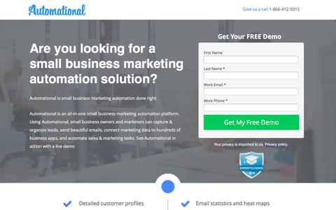 Screenshot of Landing Page automational.com - All-in-one Marketing Automation Tool | Automational - captured Oct. 13, 2016