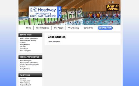 Screenshot of Case Studies Page headwayportsmouth.co.uk - Case Studies - Headway - captured Oct. 2, 2014