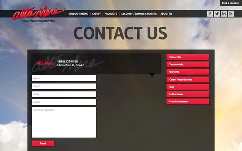 Screenshot of Contact Page altamere.com - For the latest car accessories, contact the nearest Alta Mere near you - captured Sept. 30, 2014