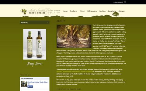Screenshot of About Page sandersfirstfresh.com - Bill Sanders' First Fresh Extra Virgin Olive Oil | ABOUT - Bill Sanders' First Fresh Extra Virgin Olive Oil - captured Oct. 6, 2014