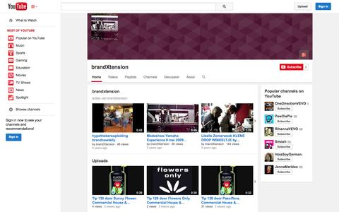 Screenshot of YouTube Page youtube.com - brandXtension  - YouTube - captured Oct. 23, 2014