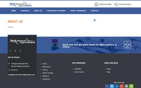 Screenshot of About Page book-domestic-flights-ghana.com - About Us - Domestic airline tickets Ghana | Kumasi, Takoradi, Accra, Tamale flights - captured Oct. 24, 2018
