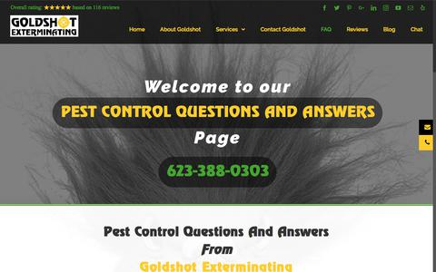 Screenshot of FAQ Page goldshotexterminating.net - Pest Control Questions and Answers from Goldshot Exterminating - captured Aug. 28, 2017