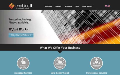 Screenshot of Home Page enablesit.us - IT Solutions   Enables IT   New England - captured Oct. 2, 2014
