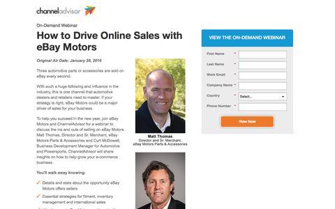 Screenshot of Landing Page channeladvisor.com - How to Drive Online Sales with eBay Motors | ChannelAdvisor - captured Dec. 27, 2016