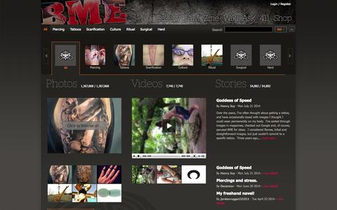 Screenshot of Press Page bme.com - All Body Modification Photos, Videos and Stories - BME: Body Modification Ezine - captured Sept. 22, 2014