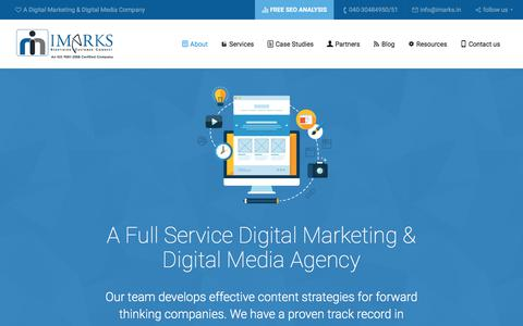 Screenshot of About Page imarks.in - Expand your client base with IMarks Digital marketing company In Hyderabad - captured June 29, 2017