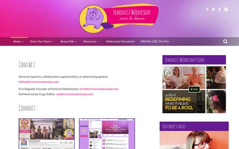 Screenshot of Contact Page feministwednesday.com - Feminist Wednesday  –  Contact & Connect - captured Sept. 30, 2014