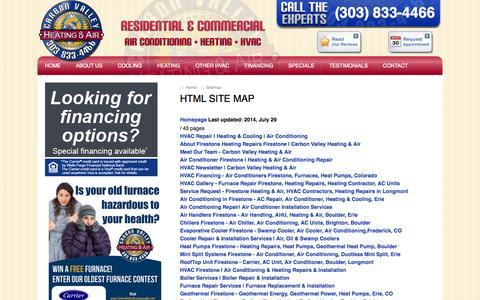 Screenshot of Site Map Page carbonvalleyheatingandair.com - Sitemap - Firestone Heating Repairs Firestone | Carbon Valley Heating & Air - captured Oct. 22, 2014