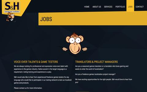 Screenshot of Jobs Page shentloc.com - Jobs in gaming industry · S&H Entertainment Localization - captured Feb. 2, 2016