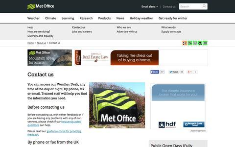Screenshot of Contact Page metoffice.gov.uk - Contact us - Met Office - captured Oct. 27, 2014