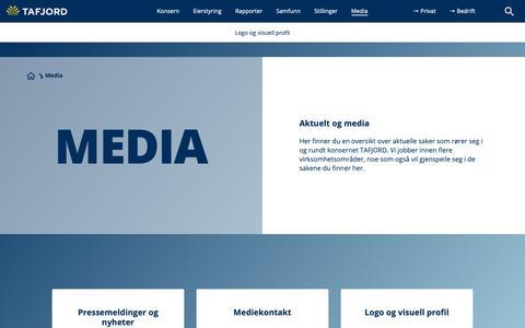 Screenshot of Press Page tafjord.no - Aktuelt og media - captured Oct. 18, 2018