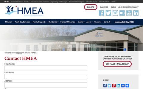 Screenshot of Contact Page hmea.org - Contact HMEA - HMEA - captured July 9, 2017
