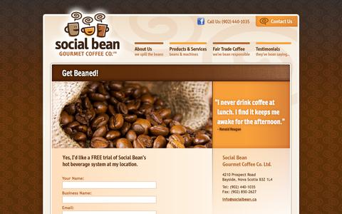 Screenshot of Trial Page socialbean.ca - Office Coffee Machine, Halifax, Fair trade coffee at your office, school, and everywhere! | Halifax, Nova Scotia | Social Bean | Get Beaned! - captured Oct. 22, 2017