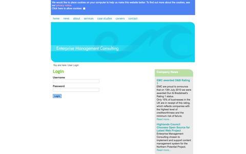 Screenshot of Login Page emcuk.com - Login / User - Enterprise Management Consulting - captured May 22, 2016