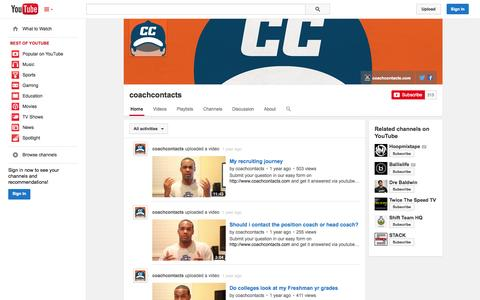 Screenshot of YouTube Page youtube.com - coachcontacts  - YouTube - captured Oct. 22, 2014