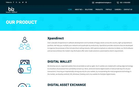 Screenshot of Products Page biztechnologies.in - Biz Technology - captured Oct. 6, 2018