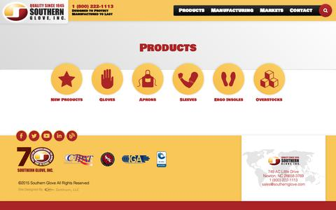 Screenshot of Products Page southernglove.com - Products | Southern Glove - captured Oct. 20, 2018