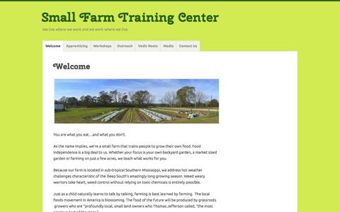 Screenshot of Home Page farmeducation.org - Small Farm Training Center – We live where we work and we work where we live. - captured March 2, 2016
