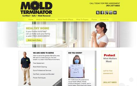 Screenshot of Home Page moldterminatorinc.com - Mold Removal Services   Commercial Mold Removal   Mold Removal Memphis - captured Sept. 30, 2014