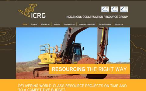 Screenshot of Home Page icrg.com.au - ICRG – Indigenous Construction Resource Group - captured Jan. 27, 2015