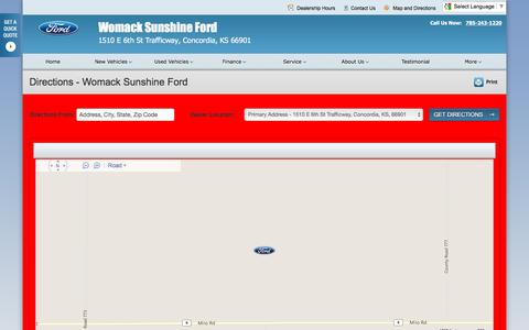 Screenshot of Maps & Directions Page womackford.net - Directions at Womack Sunshine Ford - Your Concordia, Kansas Ford dealer - captured June 24, 2016