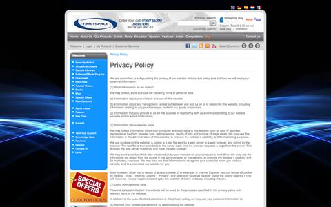 Screenshot of Privacy Page timespace.com - Privacy Policy - Time+Space | Virtual Instruments, VST Plugins, Sample Libraries, Sample CDs, Downloads, Tutorial DVDs, Hardware and Software - captured Oct. 7, 2014