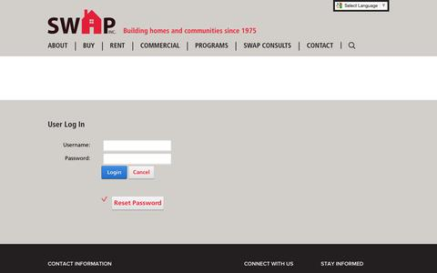 Screenshot of Login Page swapinc.org - User Log In - captured Nov. 18, 2016