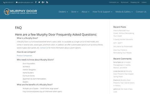 Screenshot of FAQ Page themurphydoor.com - Common Questions | Murphy Door - captured Sept. 21, 2018