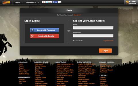 Screenshot of Login Page kabam.com - Free Strategy Game Online | Ravenmarch - captured Nov. 4, 2014