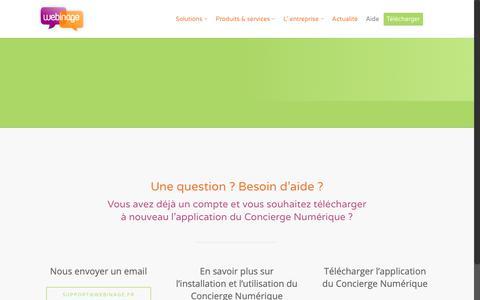Screenshot of Support Page webinage.fr - Support clients | Webinage - captured Nov. 15, 2018