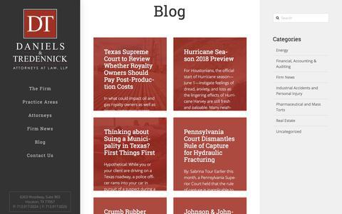 Screenshot of Blog dtlawyers.com - Houston Texas Law Practice News | Daniels & Tredennick - captured July 5, 2018